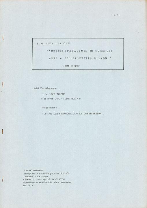 Labo Contestation Hors Série 1973 : Jean-Marc Lévy-Leblond, «Adresse à l'Académie des sciences, Arts et Belles Lettres de Lyon»